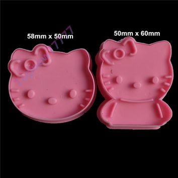 Bakeware mould 2pcs Pink hello kitty Cake mold sugar arts set Fondant Cake tools cookie cutters 2087