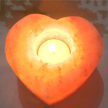 Mabor Heart Love Stone Crystal Salt Lamp Candle Holder Night Light Therapeutic Gift Veilleuse