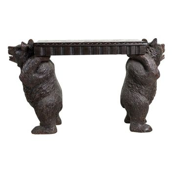 Pre-owned c. 1870's Black Forest Bear Carved Bench