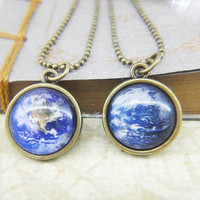 Two sided Earth planet small glass necklace, blue marble, eco awareness, globe, green ecology, galaxy, universe, star, astronomy