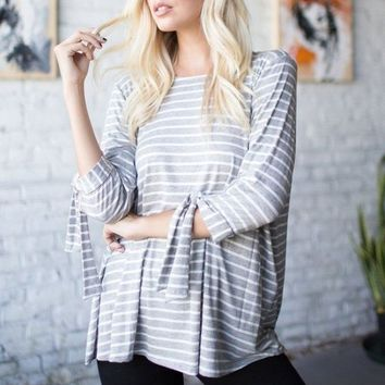 Leo Grey Striped Knit