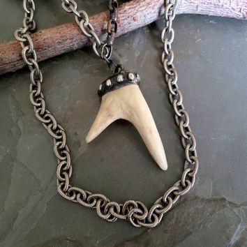 SALE - Natural Antler Necklace, Real Antler Necklace, Naturally Discarded, 2 Point Antler, Bone, Long Chunky Silver Chain, Antler Pendant