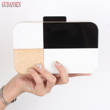 GUDANSEN Black and White Designer Handmade Wooden Women Evening Box Clutch Purse Acrylic Solid Bag Chain Cross-body Handbag