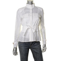 Rachel Roy Womens Silk Blend Eyelet Jacket