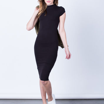 Mock Neck Basic Midi Dress