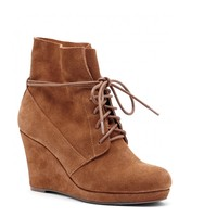 Sole Society Walker Suede Lace-Up Wedge Bootie