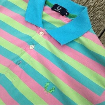 Fred Perry Striped Multicolored Polo Shirt L Brand New Without Tags