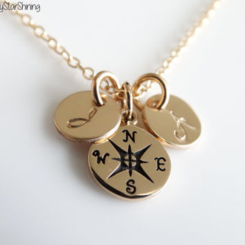 Compass Necklace Initial Necklace Gold compass Jewelry Graduation Necklace gift personalized graduation necklace Best friend gift