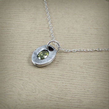 August Birthstone Jewelry - Oval Peridot Cubic Zirconia Necklace - Handmade CZ Jewelry - Small Silver Necklace - Gemstone Pendant Necklace