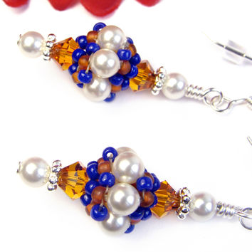Orange Crystal Cobalt Blue Earrings African Beads Swarovski Pearls