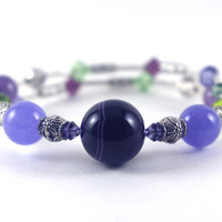 Purple banded agate stone memory wire bracelet, Lavender quartzite, Purple green Swarovski crystal, Silver plated bead, Memory wrap bangle