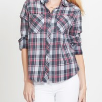 Plaid Button Down Flannel Shirt with Roll Up Sleeves (CLEARANCE) (CLEARANCE)