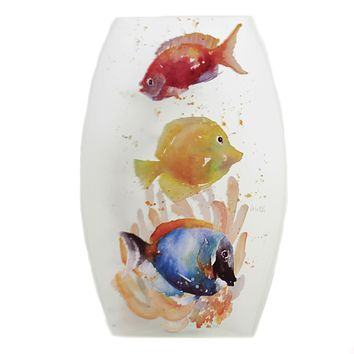 Stony Creek CORAL REEF PRE-LIT VASE Glass Ocean Fish Llw8265 B