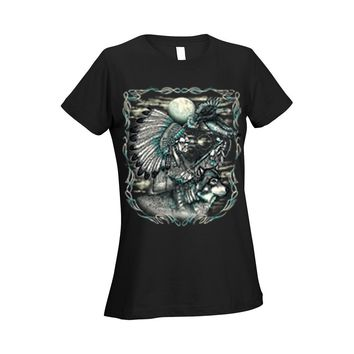 Women's Ladies T Shirt Indian Dreamcatcher With Wolf