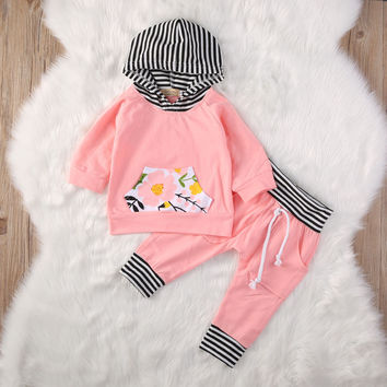 Baby Girl Clothing Outfits Set Long Sleeve Hooded Coat Tops Hoodies Flower Pants 2Pcs Newborn Baby Girls Clothes Set Cotton