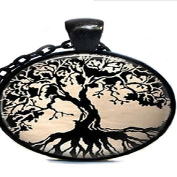 Trendy Black Tree Of Life Necklace Glass Dome Pendant