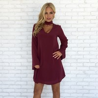 Sweet Luxury Shift Dress in Wine
