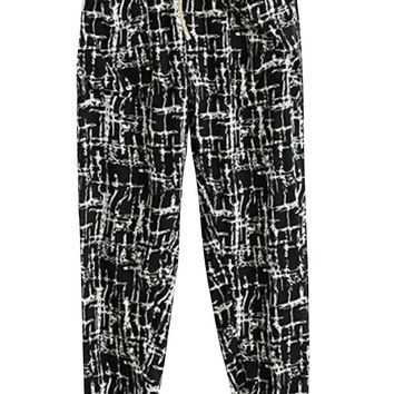 Black Vintage Plaid Print Tying Pants