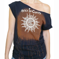 Alice in Chains - Sun women's off-shoulder raw edge bleached t-shirt