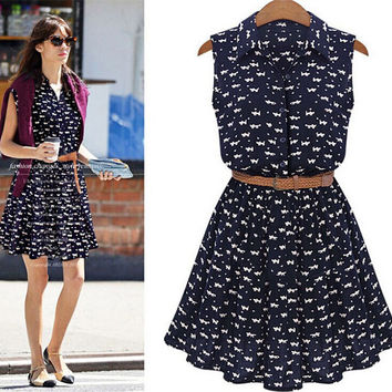 Summer Fashion New Women Shirts Dress Cat Footprints Pattern Show Thin Shirt Dress Casual Dresses Belt Not Included
