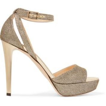 Kayden glittered leather sandals | JIMMY CHOO | Sale up to 70% off | THE OUTNET