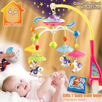 Baby Toys 0-12 Months Crib Mobile Musical Bed Bell With Animal Rattles Projection
