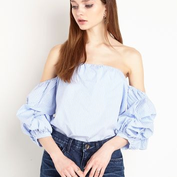 Ruched Balloon Sleeve Off the Shoulder Stripe Top