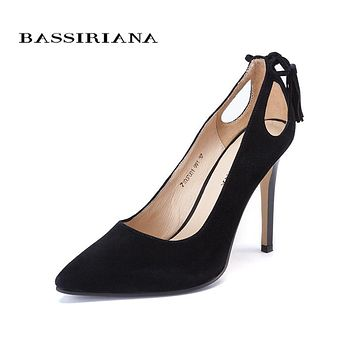 High heels shoes woman Genuine suede leather women Pumps Thin Spike Heel Pointed Toe Spring