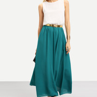 Color-block With Belt Floaty Chiffon Teal Maxi Dress | MakeMeChic.COM