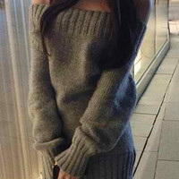 Gray Knitted Long Sleeve Sheath Dress