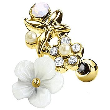 BodyJ4You Tragus Ball Piercing White Flower CZ Stud Earring 16G Goldtone Surgical Steel Helix Ear Barbell