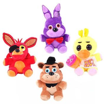 Plush Toys 18cm  At  4 Freddy Bear Chica Bonnie Foxy Plush Keychain Pendant Stuffed Animals Toys 2018