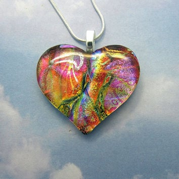 Rose and Purple Heart Fused Glass Pendant - Dichroic Glass Necklace, Heart Jewelry 2-16