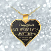 Husband Wife Necklace - Gold - Cute & Romantic - Heart Pendant - For Valentines-