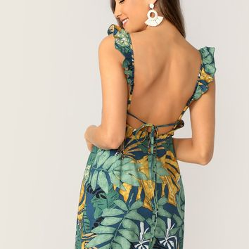Tropical Print Tie Back Ruffle Strap Dress