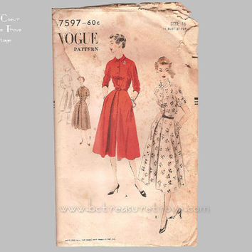 Vintage  Dress Pattern 1950s Vogue 7597 Bust 34