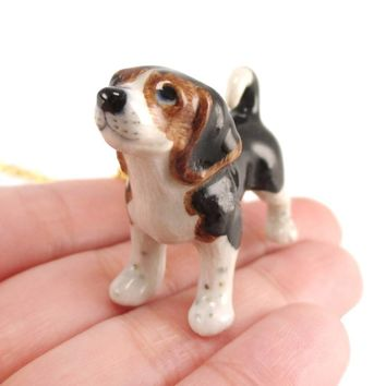 Beagle Puppy Dog Porcelain Hand Painted Ceramic Animal Pendant Necklace | Handmade