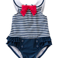 Gymboree Navy Stripe Nautical One-Piece - Infant | zulily