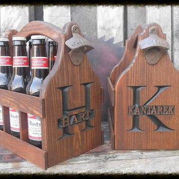 Rustic Personalized Beer Tote