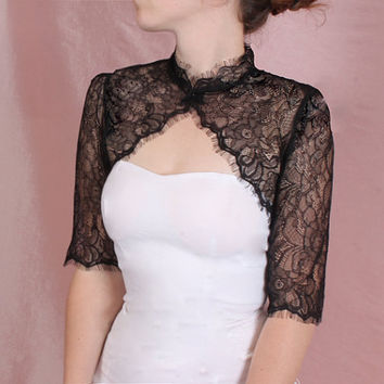 Plus size Bridal solstiss lace style /shrug / jacket / wedding bolero  /3/4-sleeve /white /ivory/ black