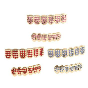 ac PEAPO2Q Rhinestone CZ Teeth Grills Mouth Caps Hip Hop Grills for Party Halloween Easter