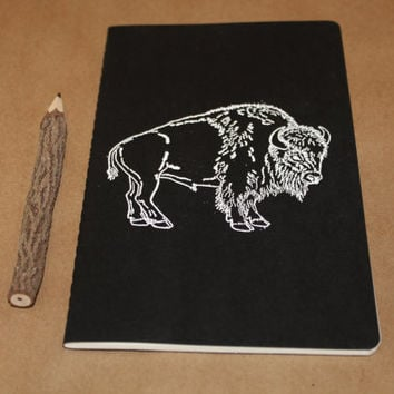 Great White Buffalo Black Embossed Lined Journal