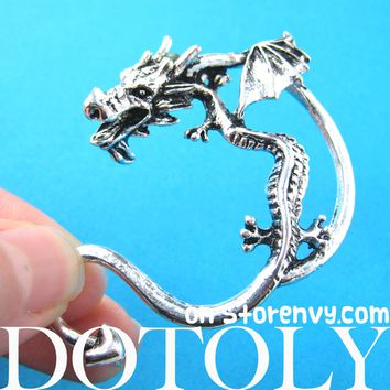 Dragon Detailed Animal Wrap Ear Cuff in Silver | DOTOLY
