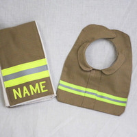 Firefighter Baby Burp Rag and Bib Made to Look Like Turnout Bunker Gear With Personalization of Your Choice great shower gift
