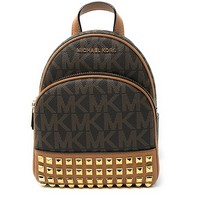 Michael Michael Kors Abbey Extra-Small Signature Studded Backpack Brown/Acorn