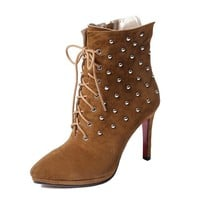 Suede Platform Ankle Boots with Rivets