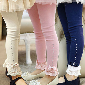 children leggings Baby girls spring fall pink blue beige lace trim ruffle rhinestone leggings kids princess cotton legging