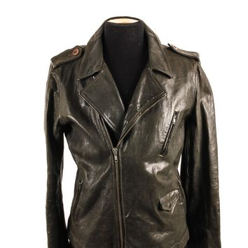 "Rick Owens ""Stooges"" Leather Jacket in Dark Green"
