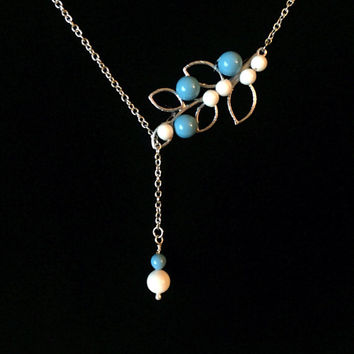 Turquoise Necklace, Sterling Silver Necklace, Modern,  Lariat Turquoise Necklace, Swarovsky Pearl, Wedding Jewelry, Blue Tuquoise Charm