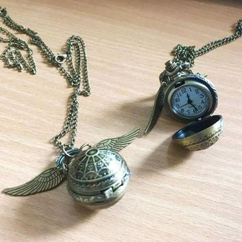 ONETOW Vintage Style Men Women Harry Potter Angel Wing Charm Golden Snitch Pendent Necklace Female Male Popular Chain Necklace balls